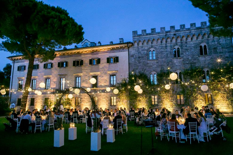 Wedding Party with pretty lights in vineyard