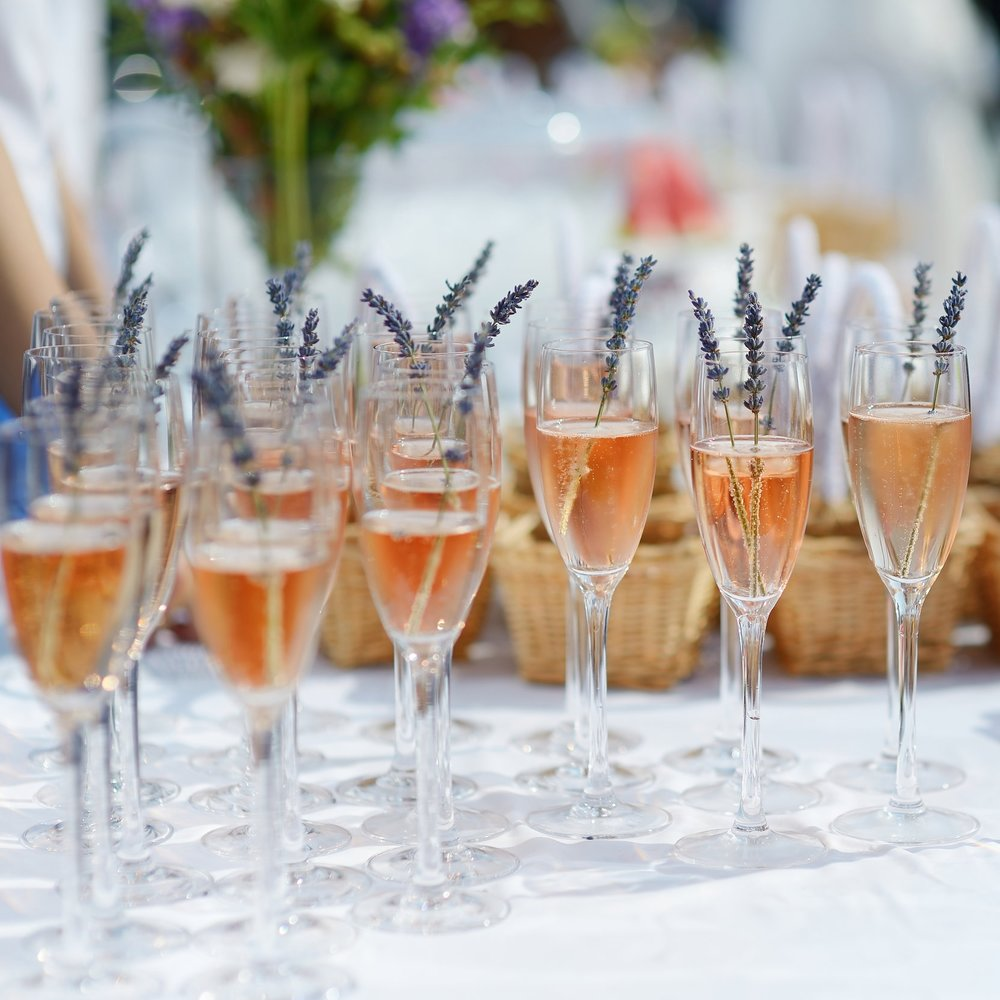 Glasses of Champagne at a Wedding Reception