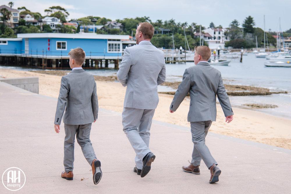 Groom walking to his wedding at Watsons Bay
