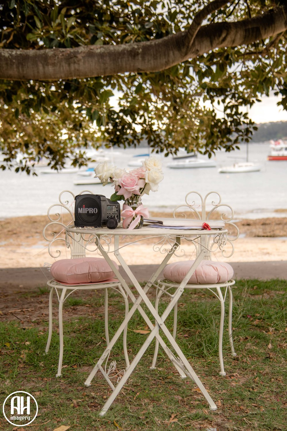 Romantic Signing Table with Pink Roses at Watsons Bay wedding ceremony