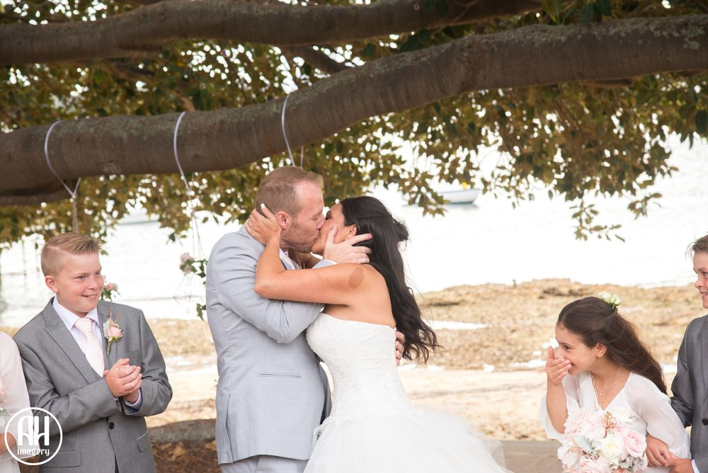 Bride and Groom first kiss at Watsons Bay Wedding