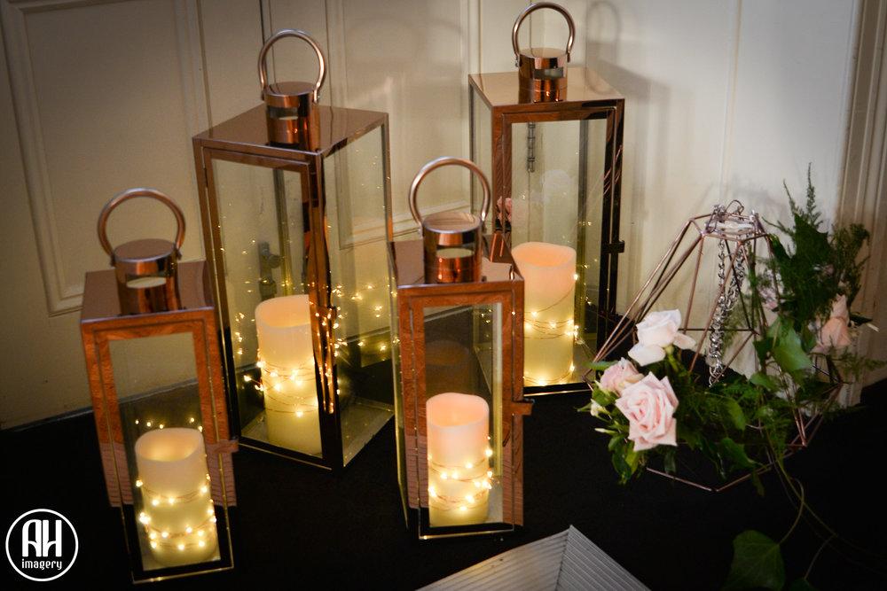 Lanterns with fairy lights at Dunbar House Wedding