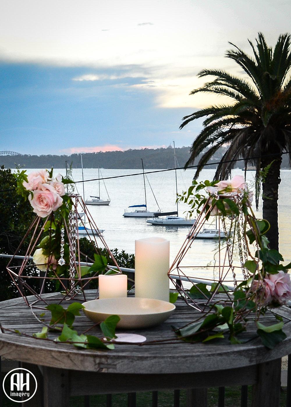 Lanterns overlooking Watsons Bay at Dunbar House Wedding