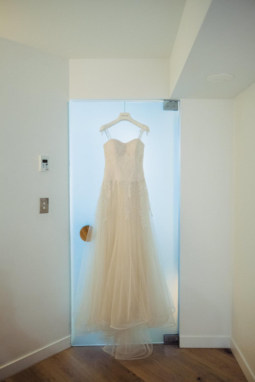 Wedding dress hung up at the QT in Bondi