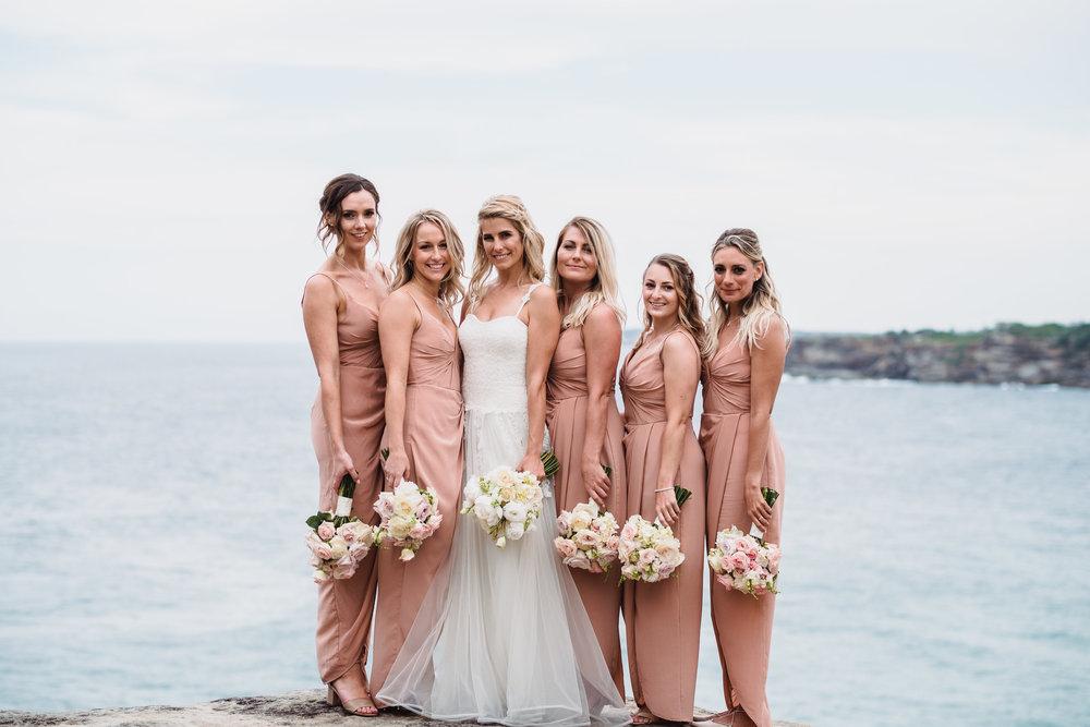 Bridesmaids and bride at Bondi Beach Wedding