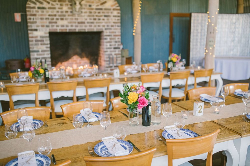 Tables at Mali Brae Farm set up for a wedding