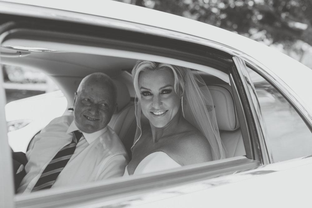 Bride Natalie Lowe arriving at Balmoral Wedding Ceremony