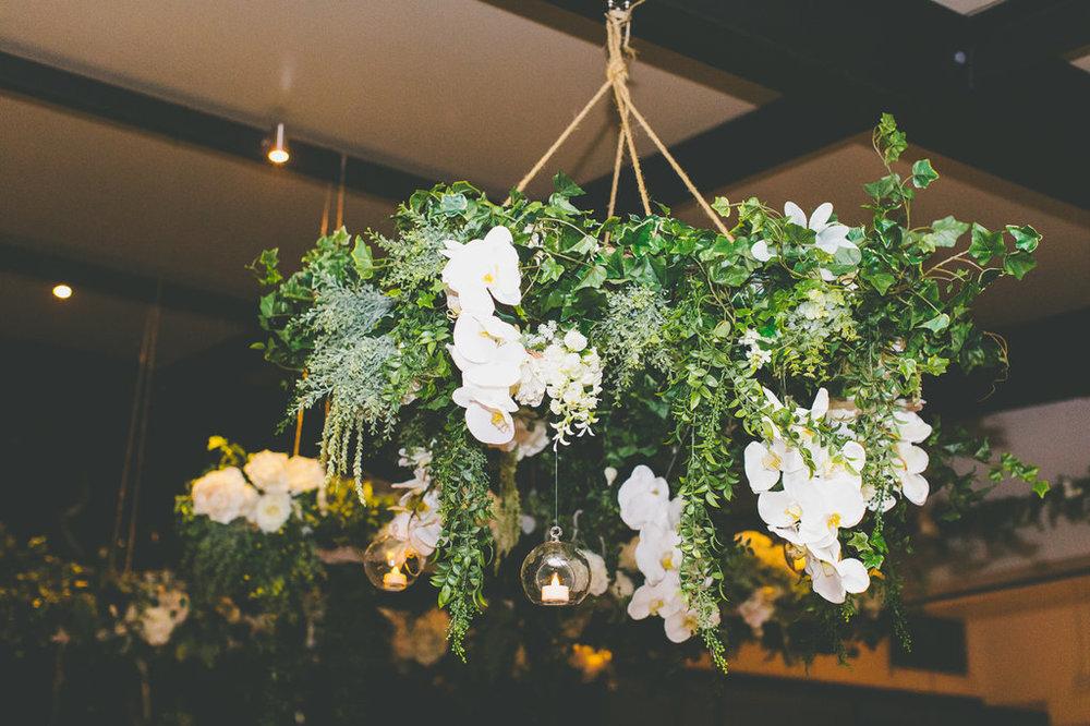 Hanging Flower Installation at The Public Dining Room Balmoral Sydney Wedding Reception