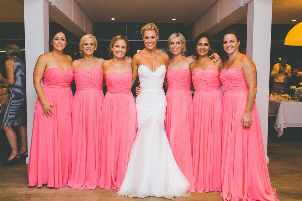 Bride and Bridesmaids at The Public Dining Room Balmoral Sydney Wedding Reception