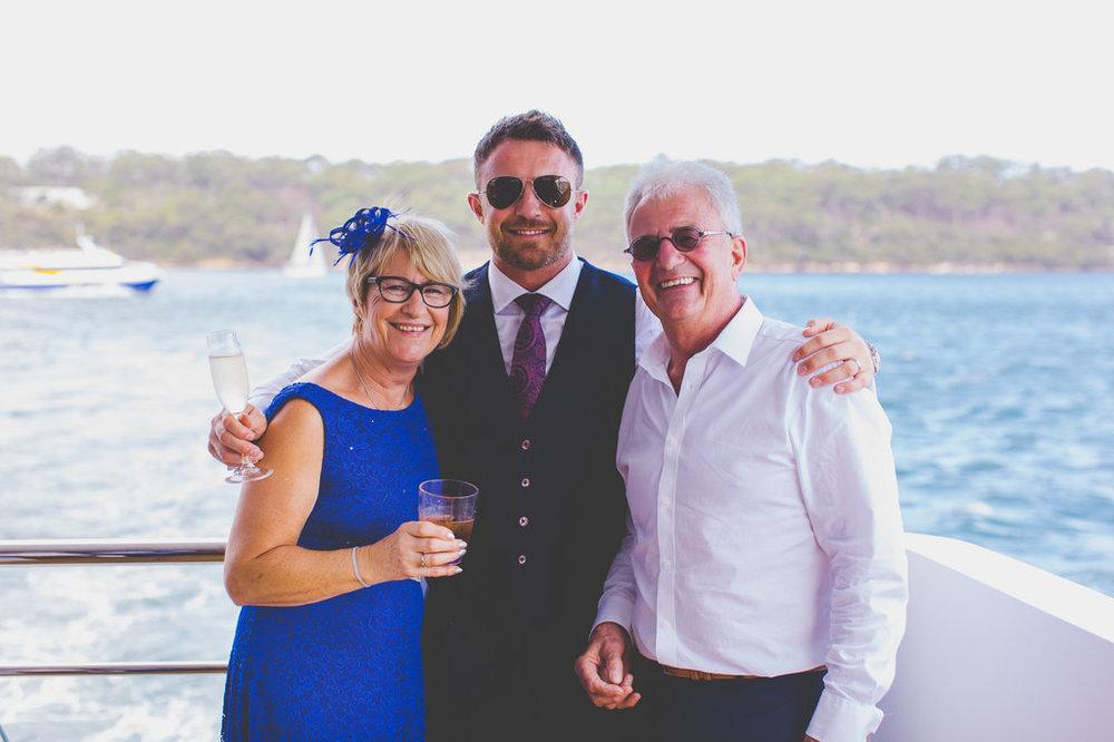 Groom and Parents Sahana yacht Wedding Reception