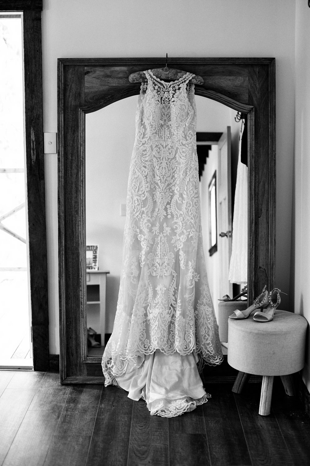 Wedding dress on display at The Stables of Somersby wedding venue in the Central Coast