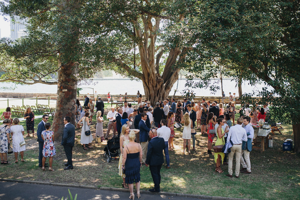 Wedding guests at Sydney Botanic Gardens Wedding Harbour View Lawn