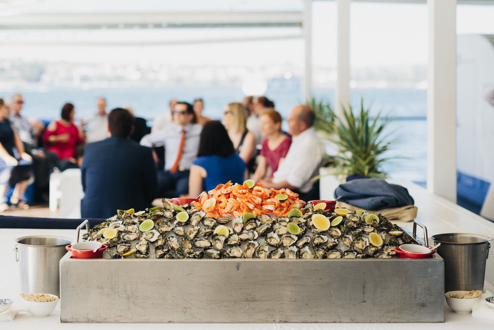 Wedding feast of Oysters and Prawns at The Island Sydney Harbour