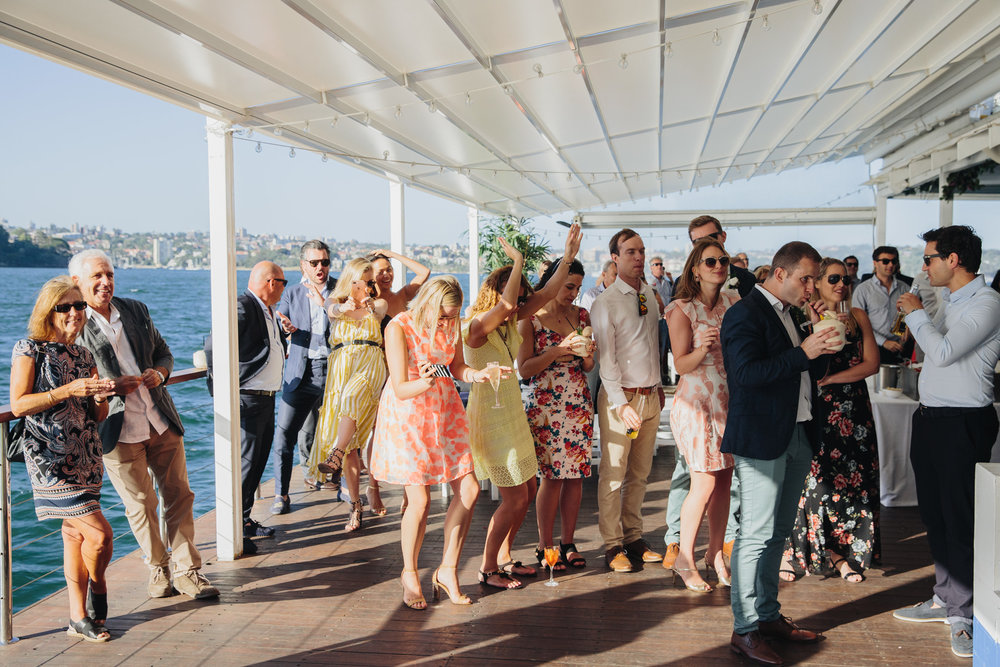 Wedding guests onboard wedding at The Island Sydney harbour