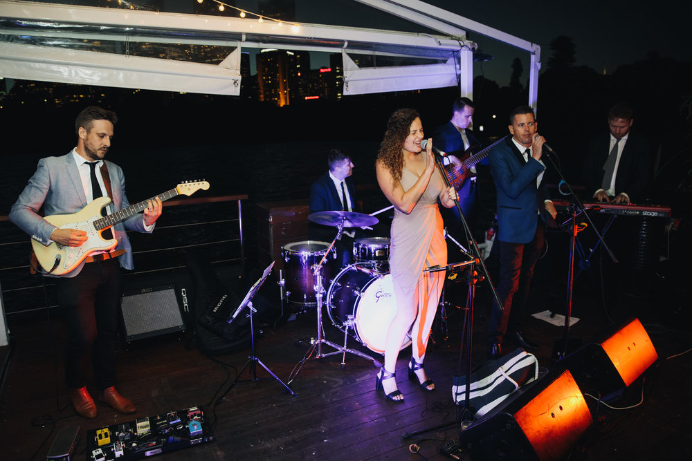 The Ususal Suspects Band playing at a wedding on The Island Sydney Harbour