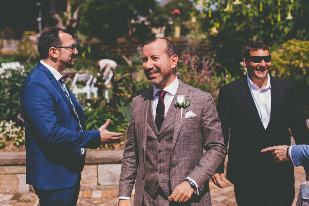 Groom and Guests at Lion Gate Lodge wedding