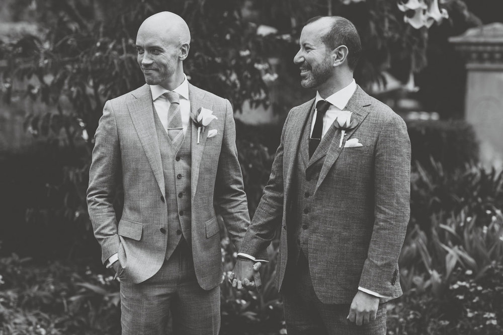 Two grooms at their wedding ceremony at Lion Gate Lodge wedding planner Samantha Burke Events. Sydney Same Sex Wedding,