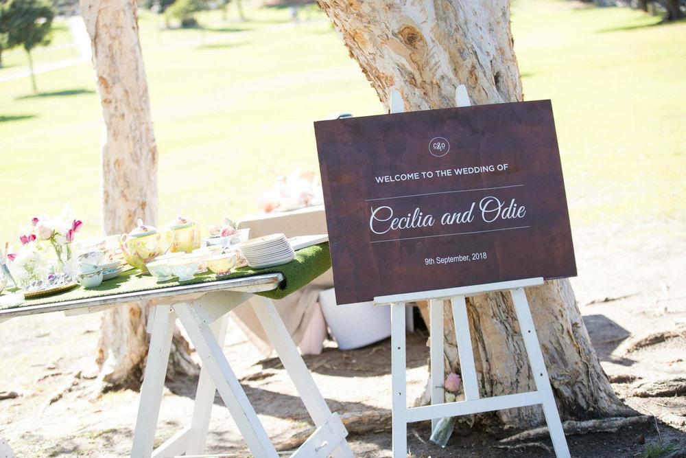 Wedding sign and wedding ceremony set up - Sydney wedding planner Samantha Burke Events