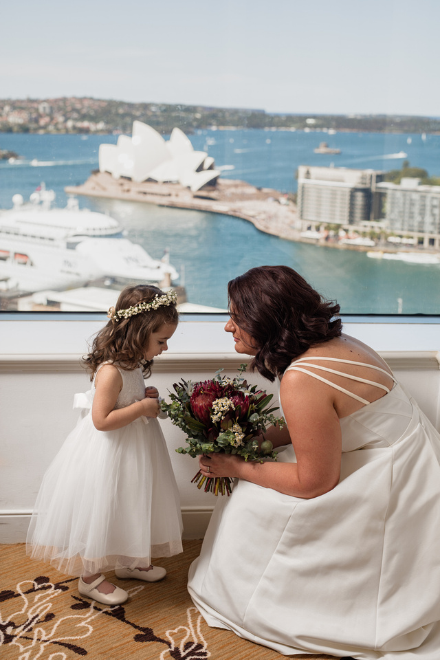 Bride and her daughter on their wedding day at The Shangri-La with the Sydney Opera House in the background
