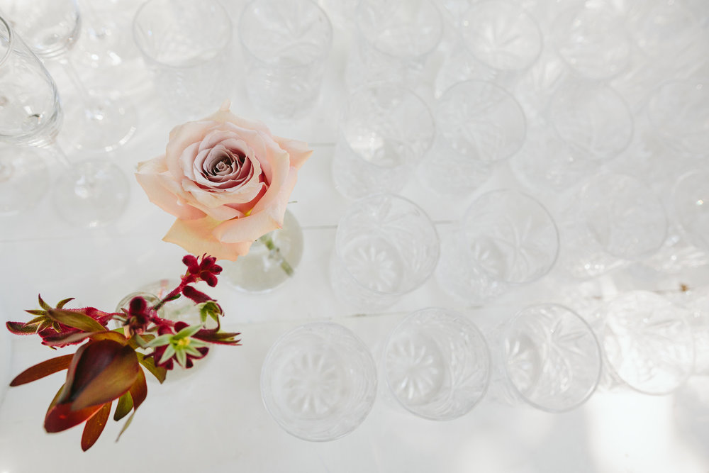 Wedding drinks station with florals