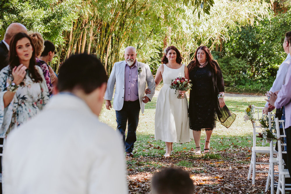 Bride and her parents at The Fig Tree Lawn wedding