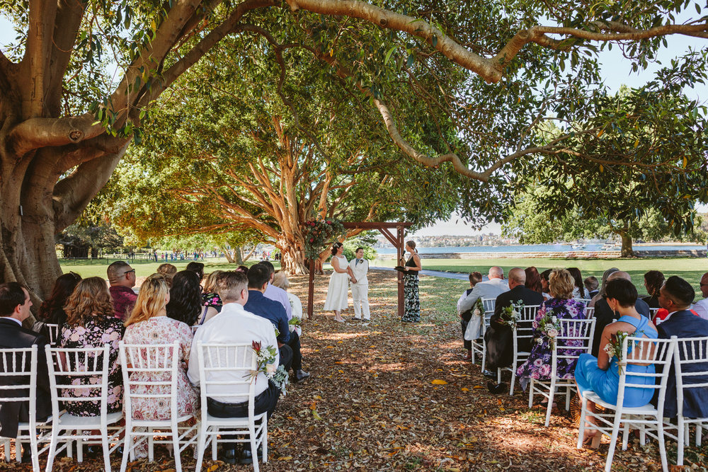 Gay wedding in Sydney, wedding planner Samantha Burke Events. Sydney Royal Botanic Garden's Fig Tree lawn wedding ceremony
