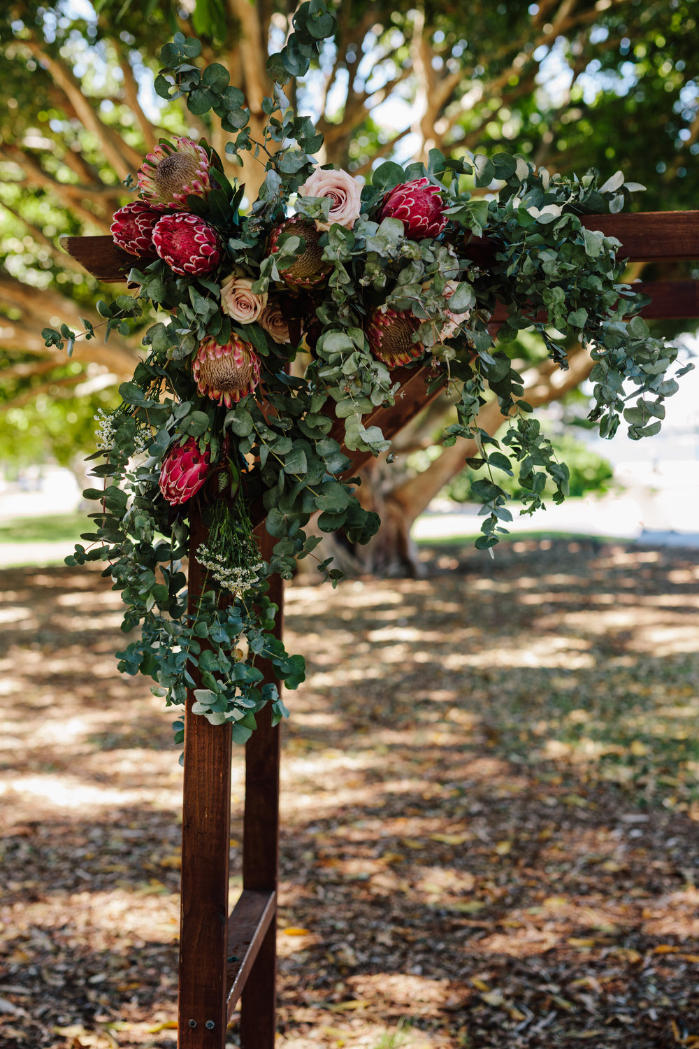 Wedding arbour decorated with Australian Natives at The FIg Tree lawn