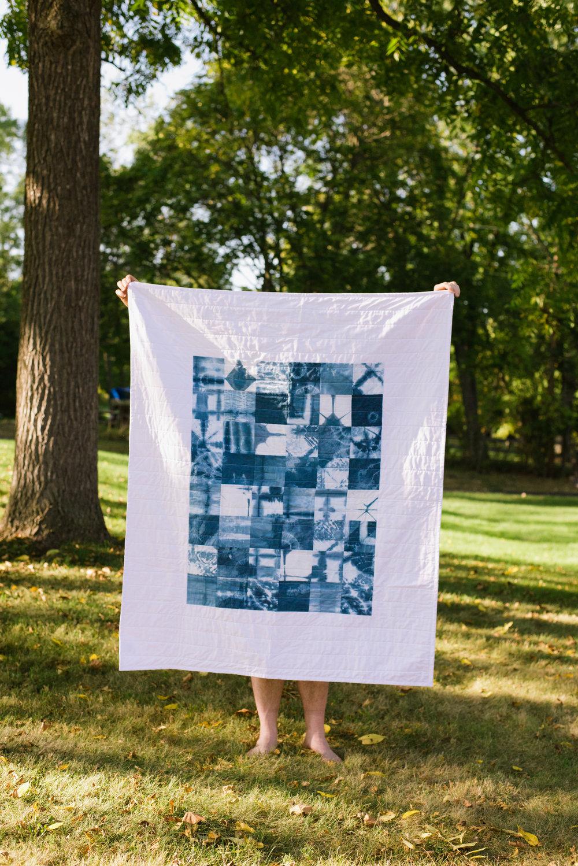 Modern Indigo Patchwork Baby Quilt