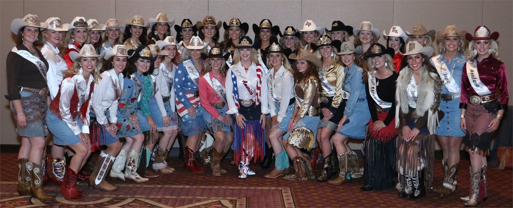 These are great examples of fashion-forward Western party attire outfits. Each contestant shows her unique style, yet all outfits are modest and Western-inspired. Photo credit:  Miss Rodeo America .