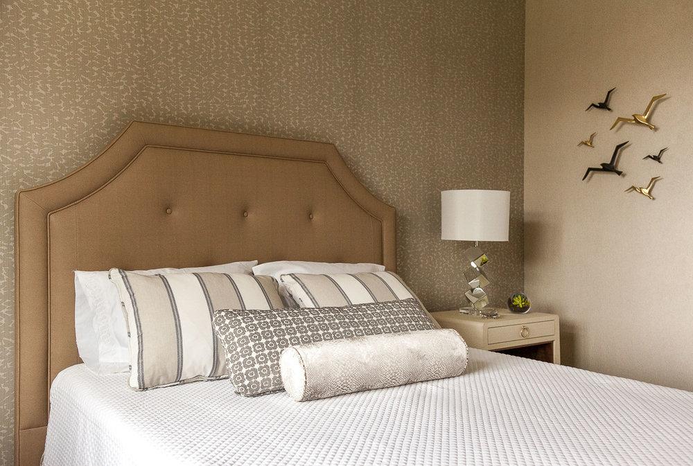Palo Alto hotel bedroom with pillows. Jana Magginetti Interior Design