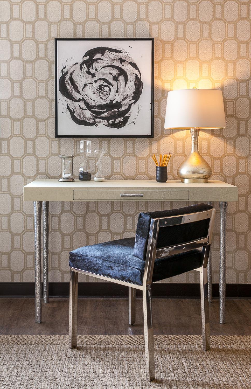 Palo Alto minimal desk with artwork. Jana Magginetti Interior Design