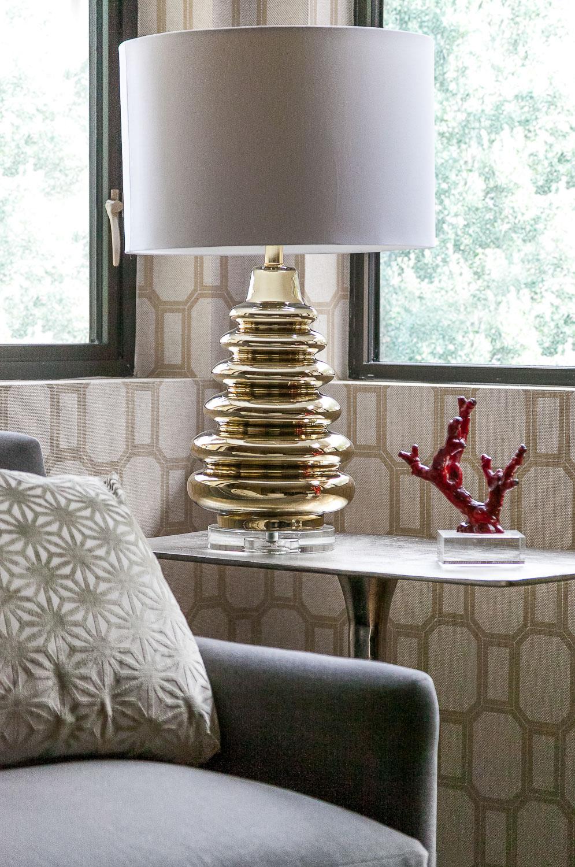 Palo Alto side table with gold lamp. Jana Magginetti Interior Design
