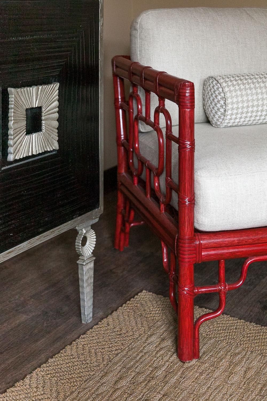 Palo Alto red chair and dresser details. Jana Magginetti Interior Design