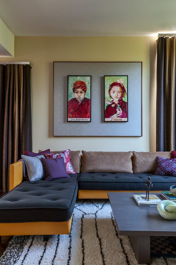 Hillsborough living room with artwork. Jana Magginetti Interior Design