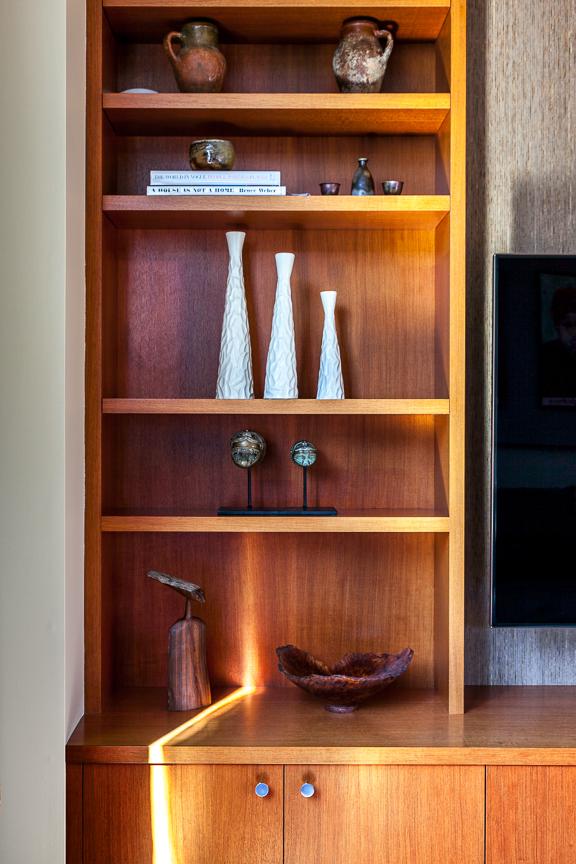 Hillsborough living room shelf details. Jana Magginetti Interior Design