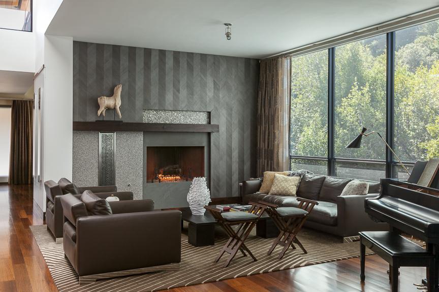 Hillsborough living room with gray wallpaper. Jana Magginetti Interior Design