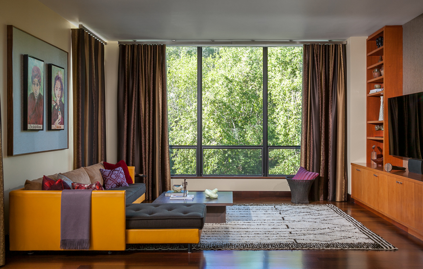 Hillsborough living room with yellow couch. Jana Magginetti Interior Design