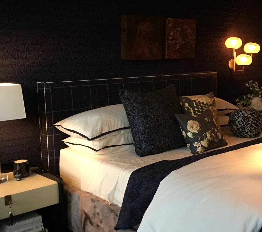 Dark & Moody Master Bedroom with fringe wallpaper, why not? By Jeff Schlarb