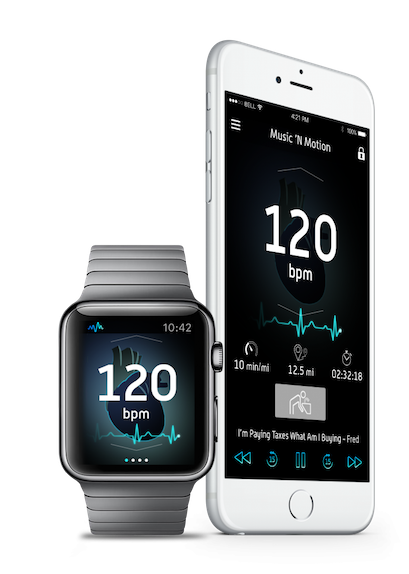 Music 'N Motion - We built a groundbreaking Apple Watch app — the first of its kind, capable of integrating with a user's Apple HealthKit and iTunes library to automatically queue up workout music synced to a user's real-time heartbeat. Manual overrides also allowed users to adjust playlists according to their mood and needs in the moment.