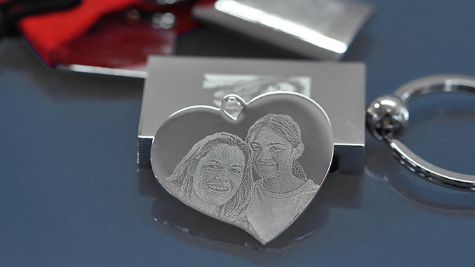 Personalisation of key fobs with photo engraving