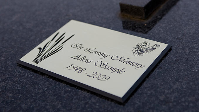 Engraving of funeral plaques
