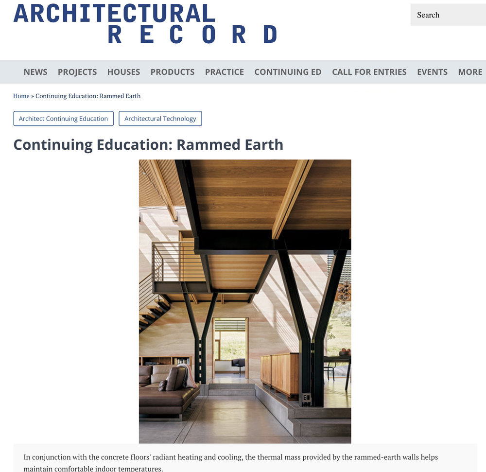 Architectural Record Rammed Earth