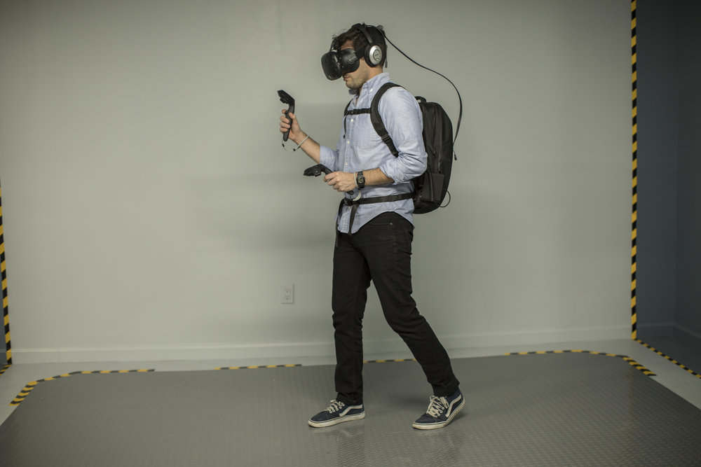 UNTETHERED ROOM-SCALE Experience a liberating way to play VR in 100 sqf play area with no wires . Using our in-house developed backpack solution capable of pulling long sessions, you'll feel like you're really there. Games Superhot VR, Gorn, Space Pirate Trainer, The Lab & more
