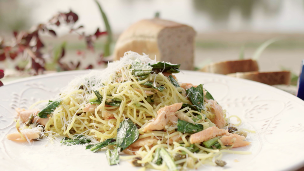 CRISPY PASTA WITH HOT SMOKED TROUT