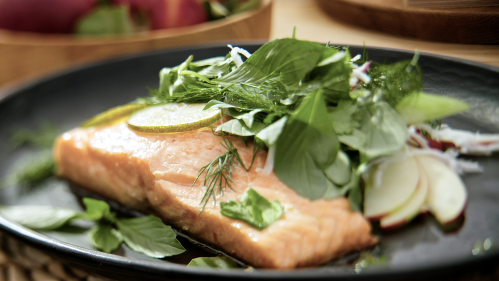 ROAST SALMON WITH ASIAN SALAD