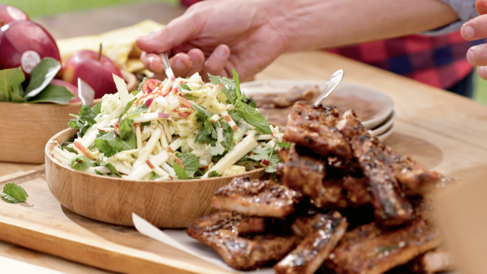 SPICED BBQ PORK RIBS WITH SLAW