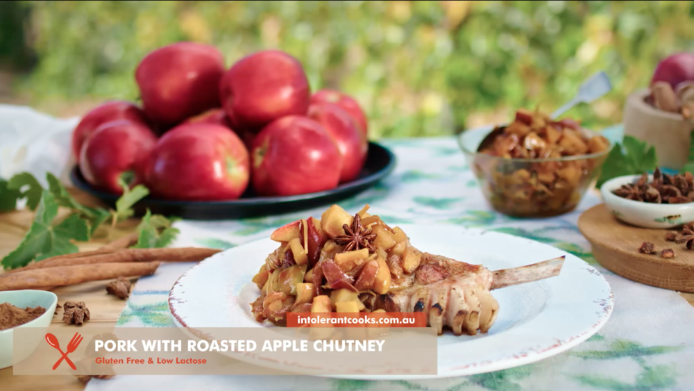 Pork Chops with Roasted Spiced Apple Chutney