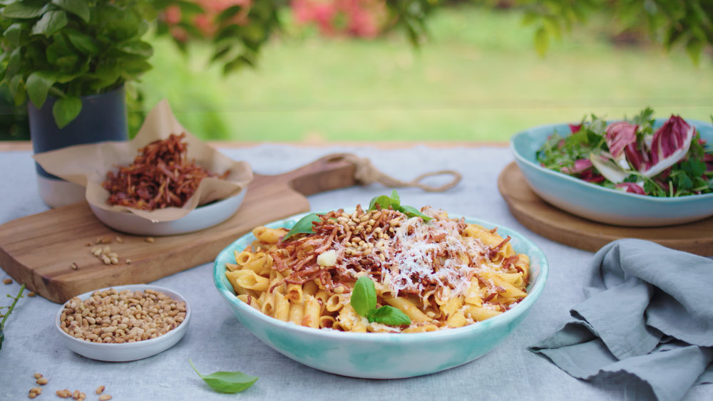 Penne, Crispy Bacon, and Pinenuts
