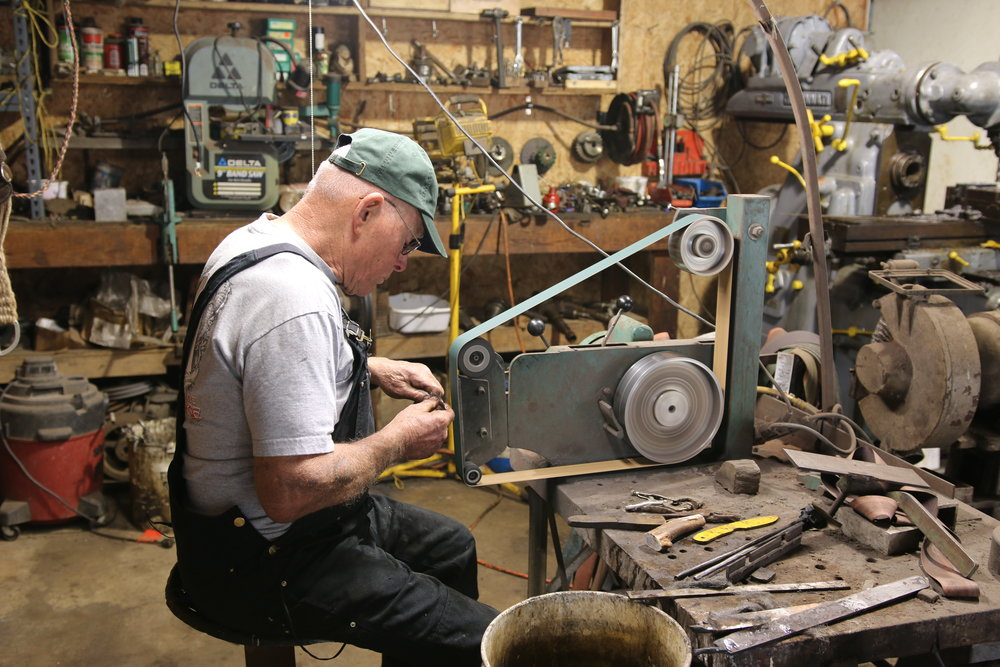 My blacksmithing mentor, Cy Swan. Thanks to modern technology you can learn from experts like Cy from your home.  Internet ftw!
