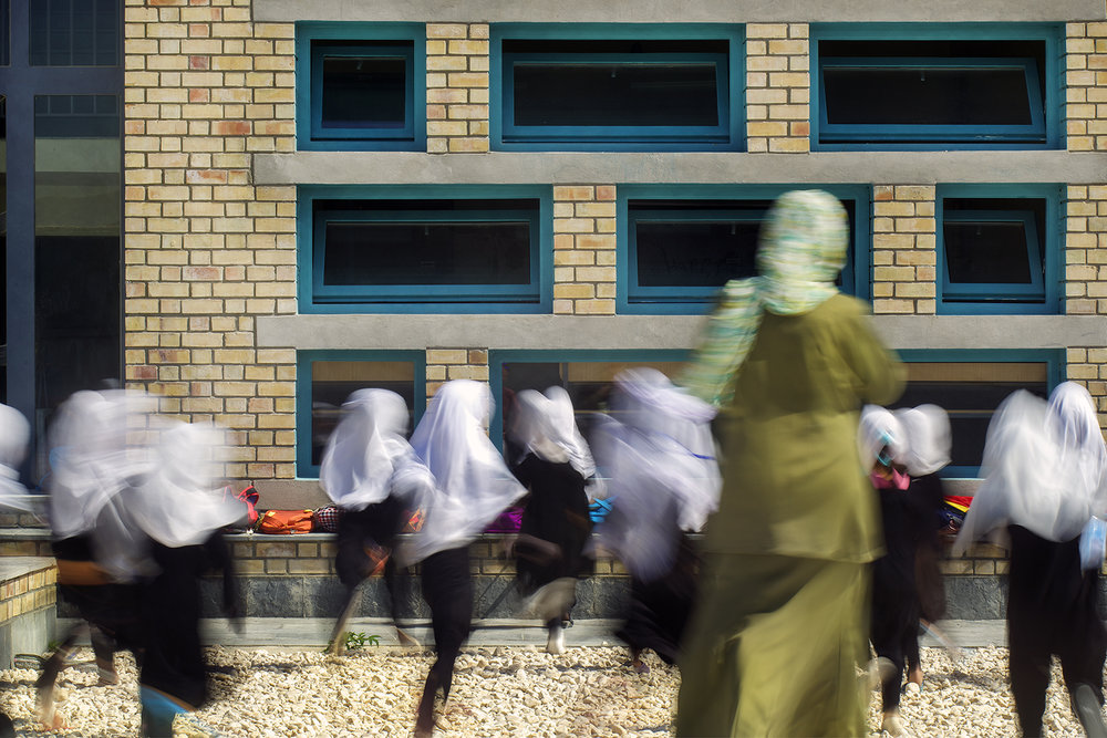 Goharkhatoon Girl School classroom blue windows@Nic Lehoux.jpg